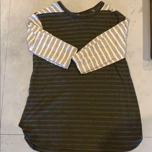 Green/Gray/White Stripe Shirt-Size Small